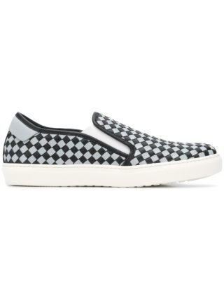 Bottega Veneta NERO/ARCTIC CALF BV CHECKER SLIP-ON - Black