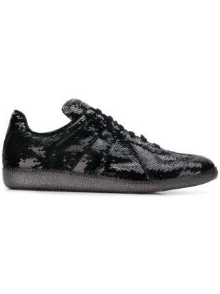 Maison Margiela sequin-embellished trainers (zwart)
