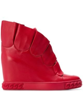 Casadei pleated wedge sneakers (rood)