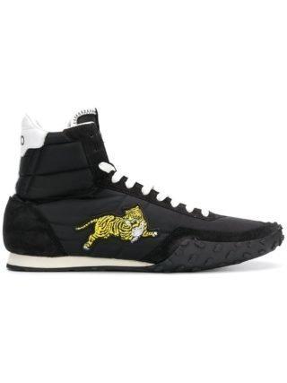 Kenzo hi-top tiger embroidered sneakers (zwart)
