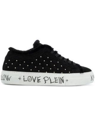 Philipp Plein microstud quilted low top sneakers (zwart)