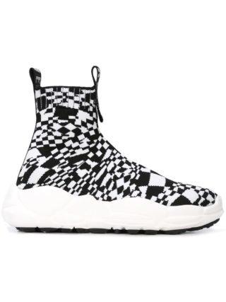 Versus checkered hi-top sneakers (zwart)