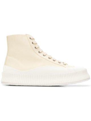 Jil Sander chunky hi top sneakers (wit)