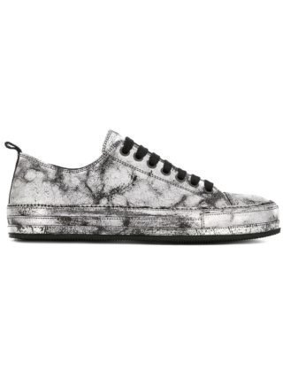 Ann Demeulemeester low-top cracked sneakers (zilver)