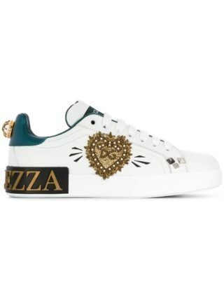 Dolce & Gabbana appliqué low to sneakers (wit)