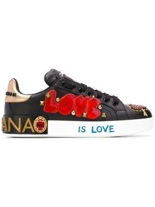 Dolce & Gabbana appliqué low top sneakers (zwart)