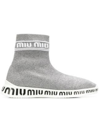 Miu Miu knit hi-top sneakers (zilver)