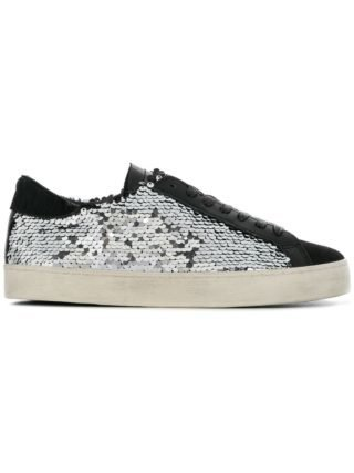 D.A.T.E. lace-up sequin sneakers (zilver)