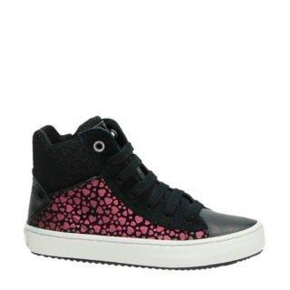 Geox leren sneakers met glitters zwart (meisjes) (zwart)