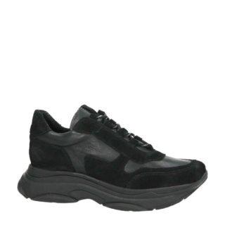suède met leren sneakers zwart (dames) (zwart)