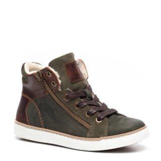 Groot leren sneakers groen jongens (groen)