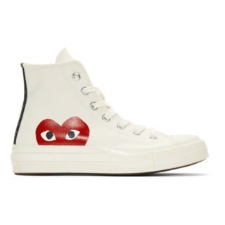 Comme des Garcons Play Off-White Converse Edition Half Heart Chuck Taylor All-Star 70 High-Top Sneakers