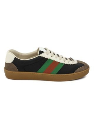 Gucci G74 Black Leather Sneaker With Web. (bruin)