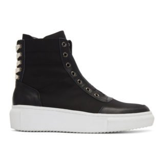 D by D Black Back String Mid-Top Sneakers