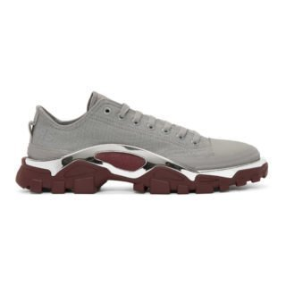 Raf Simons Grey and Burgundy adidas Originals Edition RS Detroit Runner Sneakers