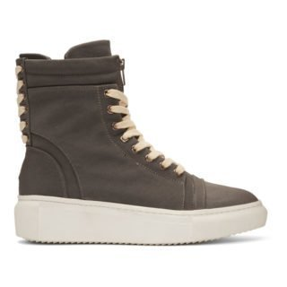 D by D Grey Double Lace Up Sneakers
