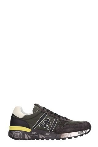 Premiata Premiata Lander Brown Leather And Fabric Sneakers (groen)