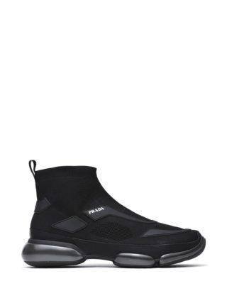Prada Black Cloudbust Knit High-top Sneakers (zwart)