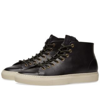 Buttero Tanino Mid Leather Sneaker (Black)
