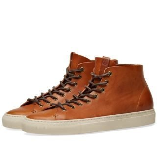 Buttero Tanino Mid Leather Sneaker (Brown)