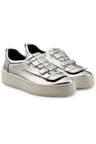 Sergio Rossi Metallic Leather Platform Sneakers (zilver)