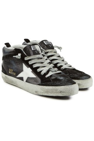 Golden Goose Deluxe Brand Mid Star Patent Leather Sneakers (zwart)
