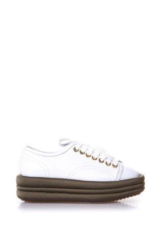 Marc Ellis Marc Ellis Diva White Leather & Military Platform Sneakers (wit)