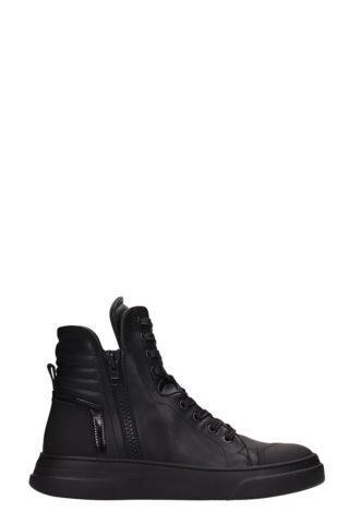 Bruno Bordese Bruno Bordese Byke Hi Black Leather Sneakers (zwart)