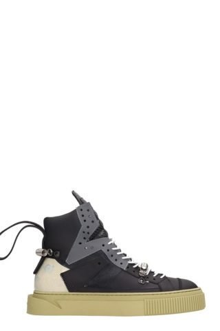 Gienchi Gienchi Black Leather And Suede Hypnos 100 Sneakers (zwart)