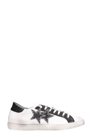 2Star 2Star Low Star White Leather Sneakers (zwart)