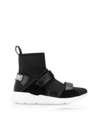 Moschino Moschino Ettore Black Neoprene High Top Sneakers W/calf Leather And Suede Upper Straps (zwart)