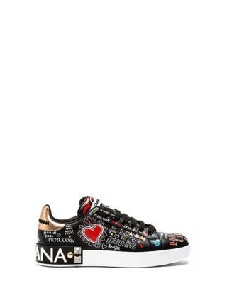 Dolce & Gabbana Black Printed Calfskin Portofino Sneakers (zwart)