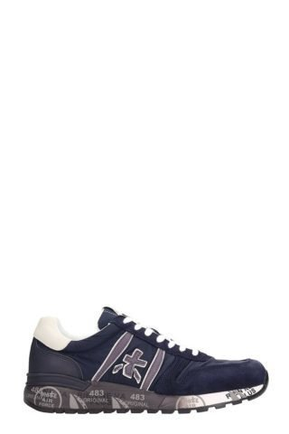 Premiata Premiata Lander Blue Leather Sneakers And Fabric Sneakers (blauw)