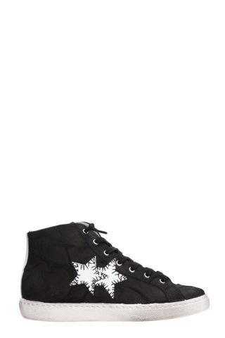 2Star 2Star High Black Leather Sneakers (zwart)