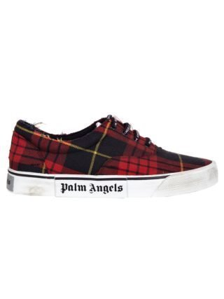 Palm Angels Palm Angels Distressed Tartan Sneakers (rood)