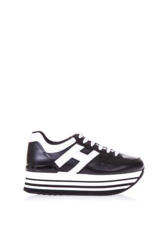 Hogan Hogan Black Maxi H222 Sneakers In Leather (zwart/wit)