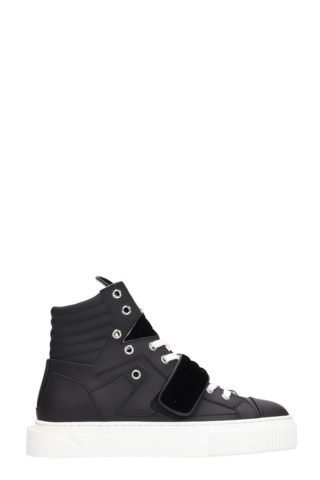 Gienchi Gienchi Hypnos Black Leather And Velvet Sneakers (zwart)