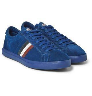 Moncler La Monaco Leather-trimmed Suede Sneakers – Blue