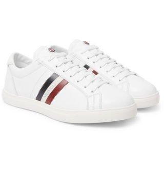 Moncler La Monaco Striped Leather Sneakers – White