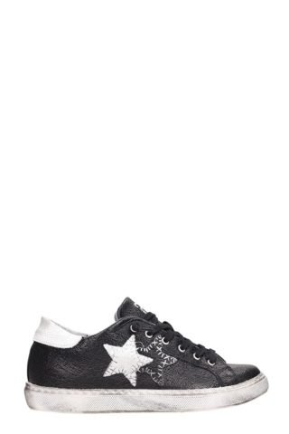 2Star 2Star Low Black White Leather Sneakers (zwart)