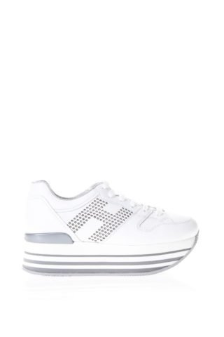 Hogan Hogan White Maxi H222 Studded Sneakers In Leather (wit)