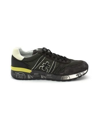 Premiata Lander Sneaker In Grey Leather Upper And Green Nylon. (Overige kleuren)