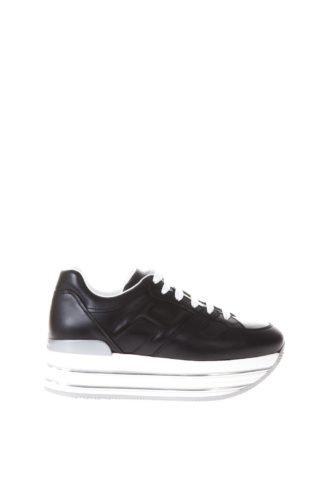 Hogan Hogan Black Maxi H222 Leather Sneakers (zwart)