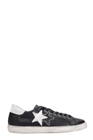2Star 2Star Low Star Black Leather Sneakers (zwart)