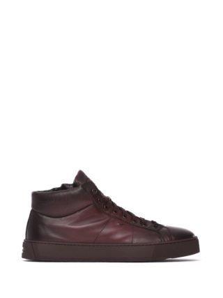 Santoni Bordeaux Leather High-top Sneakers (rood)