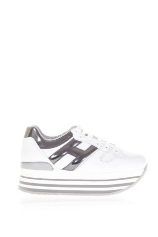 Hogan Hogan Maxi H222 Leather Sneakers (wit/zilver)
