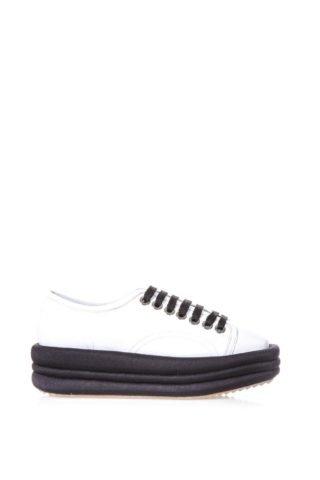 Marc Ellis Marc Ellis Diva White Leather & Black Platform Sneakers (wit/zwart)