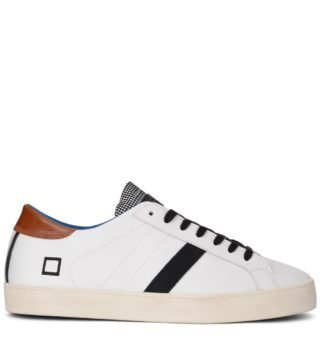 D.A.T.E. D.a.t.e. Hill Low Pop White Leather Sneaker With Checked Flap (wit)