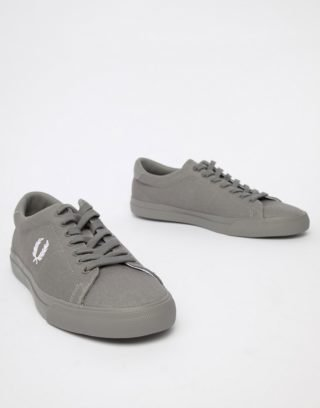 Fred Perry Underspin twill trainers in grey