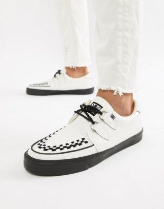 T.U.K VLK creeper plimsolls in white leather